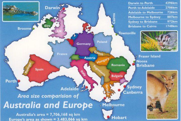 Carte Australie Sur Europe.Comparaison Cartes Australie Europe Ln Land